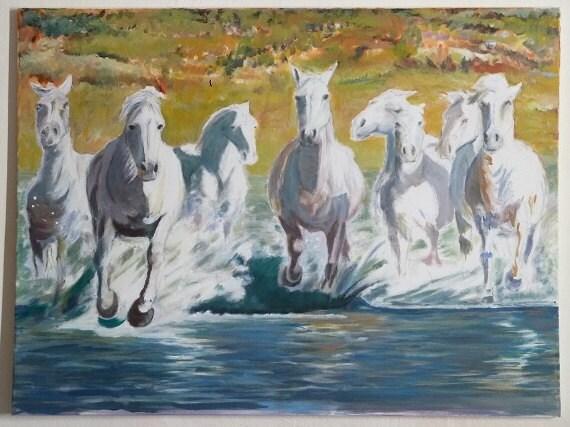Painting Acrylic on canvas Original Horses White horses 7 White Horses Running Painting