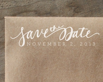 Save the Date, Hand Written Script Rubber Stamp with Date or Name