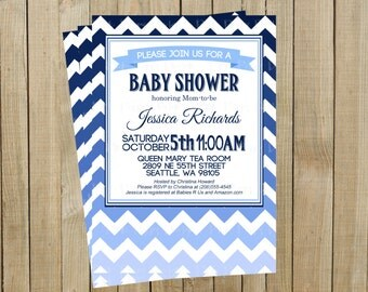 Blue Ombré Chevron Baby Shower Invitation, Custom Digital File, Printable