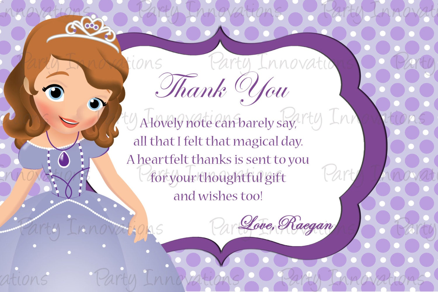Printable sofia the first inspired thank you card zoom amipublicfo Images