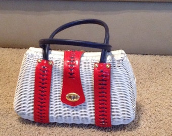 True Vintage Woven Leather Red White And Blue Handbag By Grants