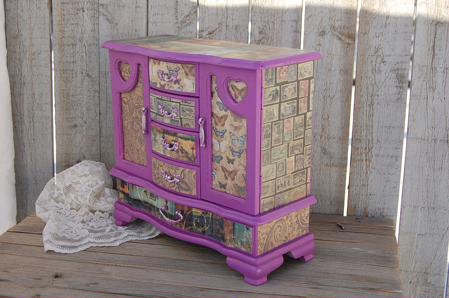 Jewelry Box Shabby Chic Jewelry Armoire Radiant Orchid