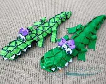 Alligator Ribbon Sculpture Hair Clip, Crocodile Hair Bow, Large Everglades Gator