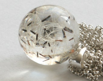 Hieracium- Clear Resin and Silver Necklace