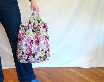 Now on SALE - Market bag - pink flowers