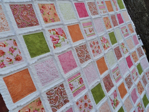 Designer Fabrics Large 6+1/2 foot square Rag Quilt Throw NEW Ready 2 ship Free U.S. shipping Spring Summer Flowers Romantic Colorful