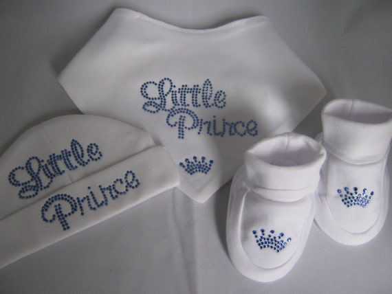 Newborn or 0-3 months Baby boy royal prince 2012 crystal hat bib bootees clothing gift set baby shower idea