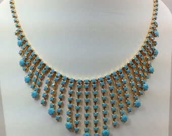 Rhinestone opaque turquoise necklace