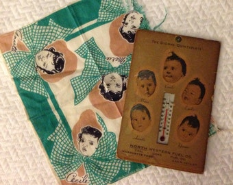 Vintage Dionne Quintuplets Quints Advertising Thermometer Hankie