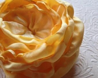 Yellow satin flower, satin flower,  embellishment, supply, singed flower, yellow flower
