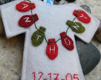 Personalized Baby Christmas Ornament--Wool Felt Onesie