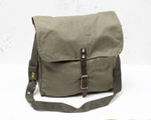 Vintage Green Military Army Messenger Bag Canvas Bag Soviet Unused USSR Cold War Collectible supply  Leather  Army Bag Crossbody Bag ohtteam