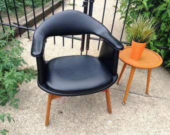 MCM Salterini or Clam Shell /Orange Peel Style Black Naugahyde Chair