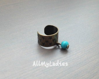 Earring of cartilage, Star, bronze metal, turquoise bead, ear ring