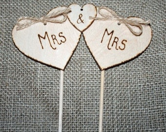 Triple Heart Cake Topper. Civil Ceremony, Cake Topper, Rustic Cake Topper, Gay marriage
