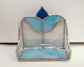 Stained Glass Blue & White Business Card Holder