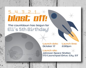 Space Birthday Party Invitation- Blast off Birthday Party