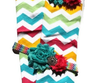 Beautiful Rainbow Chevron Leg Warmers with Matching Headband Set, Makes great photography prop