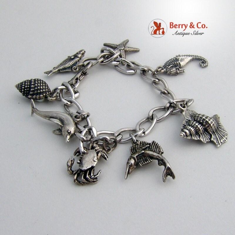 vintage nautical charm bracelet sterling silver by berrysgems