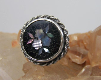 Antique Floral MOP Inlaid Sewing Button & Sterling Silver Statement Ring with Swirled Band sz 6