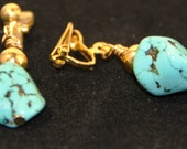 Turquoise Nugget Earrings – Turquoise Nugget and gold beaded clip-on earrings