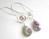 silver and stone dangle earrings, spiral earrings, green earrings, long dangle earrings, boho whimsical earrings