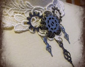 Filigree gears in ivory lace steampunk choker