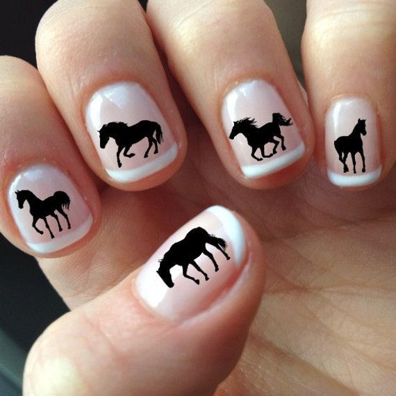 60 DECALS Black HORSE SILHOUETTES - Nail Wraps Nail Art Water Slide ...