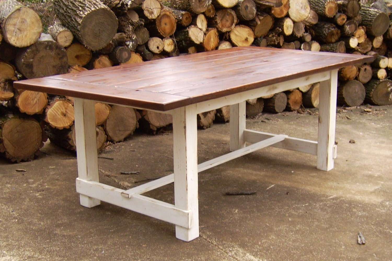 Reclaimed Wood Farmhouse Trestle Table by WonderlandWoodworks