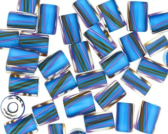 Furnace Glass Beads, Aqua Blue with Violet and Brown Stripes, Medium mixed size by Virginia Wilson Toccalino, 1 oz