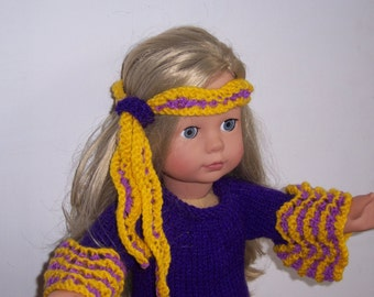 "Dolls clothes PDF knitting pattern for 18"" to 19""doll, American Girl,Gotz, Our Generation and similar size dolls Retro Hippy Costume"