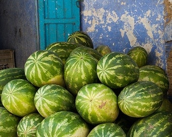Watermelons and Blue Door: Fruit, Food, Morocco, Melon, North Africa