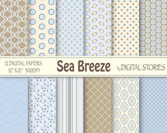 Light Blue Beige Digital Scrapbook Paper Pack - Sea Breeze - Instant Download
