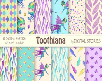 Toothiana Tooth Fairy Digital Scrapbook Paper Pack - Baby Purple Turquoise