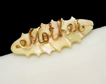 """Mid Century Carved Mother of Pearl MOP """"Mother"""" Vintage Brooch Pin Oval Metal"""