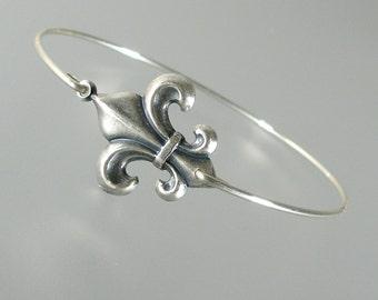 Silver Fleur de Lis Bangle Bracelet, Silver Bangle Bracelet, Silver Bracelet, Fleur de Lis Bracelet (177S,)