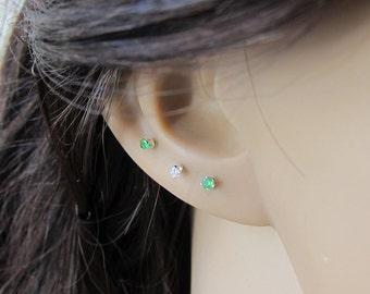 Sterling Silver 2mm Emerald Stud Earrings ( Available in 14 colors -12 birtstone plus black, blue topaz ), Cartilage Earring, stud earrings
