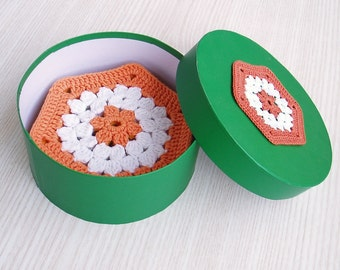 Multicolored Crochet Cup Pads, Lace Crochet Coasters, Table Decor Set of Six, Crochet Gift Set, Crochet House Gifts