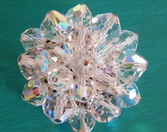Mad Men Era AB Crystal Cluster Brooch.  Mid Century.