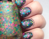 zappin' it to ya - neon glitter topper nail polish