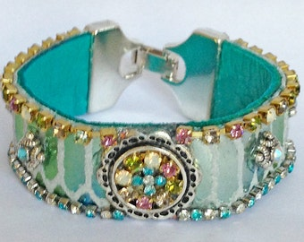 Turquoise Iridescent Leather Cuff Bracelet - Adorned With Turquoise, Pink and Opalescent Rhinestone Cup Chain Border