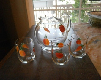 SALE! 4 Pc. Juice Set 1950s Hand Painted Was 25.00 Now 20.00