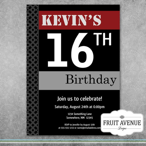 Teenage boy birthday party invitation by fruitavenuedesigns