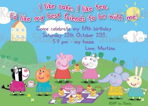 Printable Peppa Pig Picnic Tea Invitation by ...