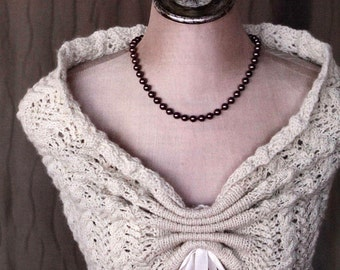 Knitting Cabled Elegance, lacy capelet shrug  --PDF pattern
