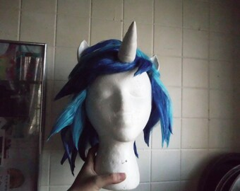 Blue Unicorn Wig Scratch DJ Pon 3 Vinyl Wig Unicorn Horn Costume Cosplay MLP my little pony cosplay