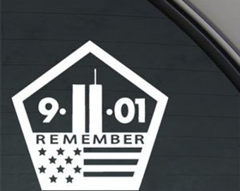 "911 Remember World Trade Center Pentagon Memorial 5"" Vinyl Decal Widow Sticker for Car, Truck, Motorcycle, Laptop, Ipad, Window, Wall, ETC"