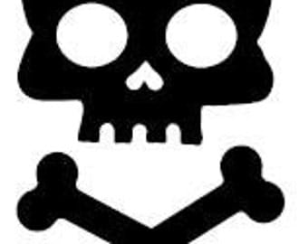 "Skull and Crossbones 4"" Vinyl Decal Window Sticker for Car, Truck, Motorcycle, Laptop, Ipad, Window, Wall, ETC"