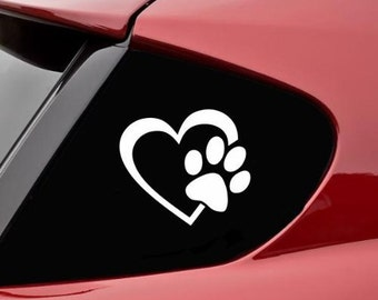 "HEART with DOG Paw 4"" Vinyl Decal Widow Sticker for Car, Truck, Motorcycle, Laptop, Ipad, Window, Wall, ETC"