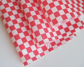 """Wax Paper-50 Sheets of Red and White Checkered Wax Paper-Deli Sandwich Wrap-Box and Tray Paper Liners-Red Plaid Wrapping Paper 12"""" x 12"""""""